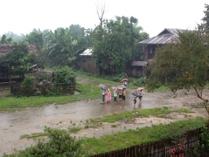 Rainy day in Kachin State, just outside the Culture Committee Chairman's house.